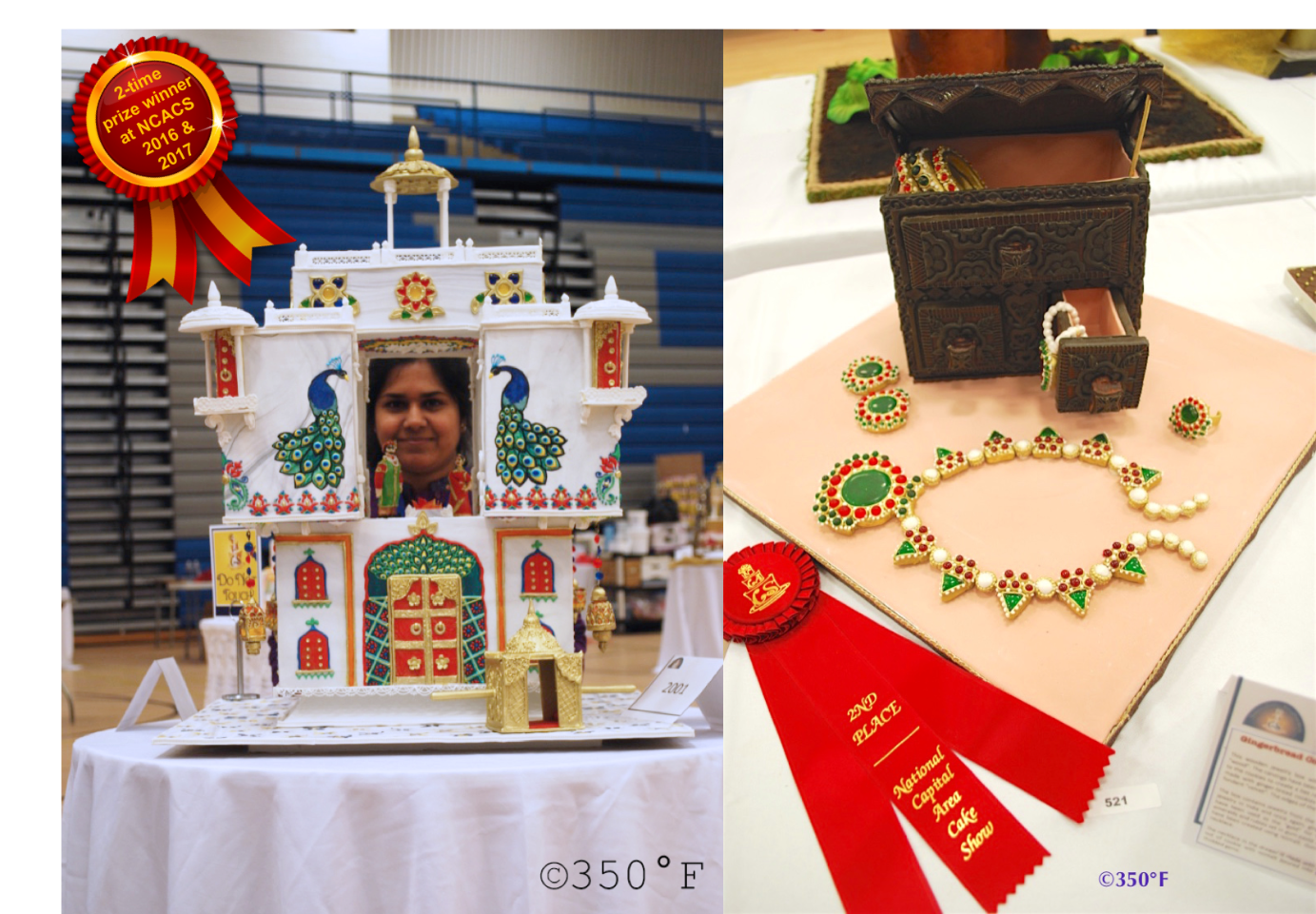 Winner at the National Capital Area Cake Show 2017 in the wedding cake and cookie art categories