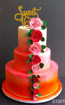 Ombre cake with roses for a sweet 16 celebration
