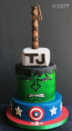 Avengers themed 3rd birthday cake representing the team of Captain America, Hulk and Thor