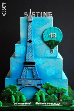 Travel themed destination Debutante Cake with Eiffel tower