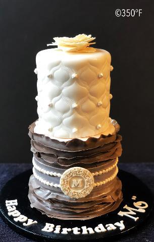 Fashion Inspired Monogram Birthday Cake For Monetts 33rd