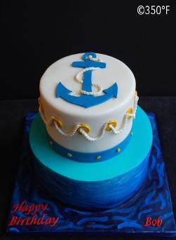 Nautical themed tiered cake for a gentleman's birthday
