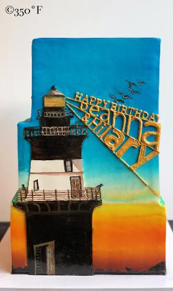 Orient Point Lighthouse, the recipients' favorite place featured on their birthday cake.