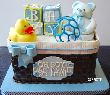 A baby shower basket cake filled with baby toys