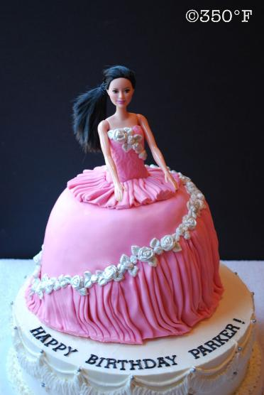 A barbie cake for Parker's 10th birthday, dressed up pretty in pink