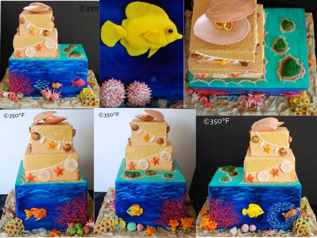 a destination wedding cake with the great barrier reef as the theme. a beach themed cake with fish, shells and other marine animals