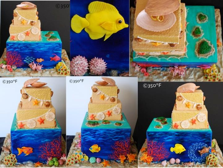 A destination wedding cake with the great barrier reef as the theme. a beach themed cake with an assortment of fish, shells and other sea animals