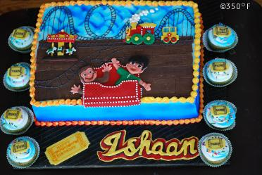 A fantastic birthday party at the amusement park needs a fancy birthday cake