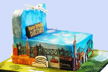 An 18th birthday cake detailed with buildings and places of interest in NYC