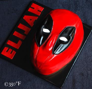 A deadpool mask cake for the birthday of a tween.