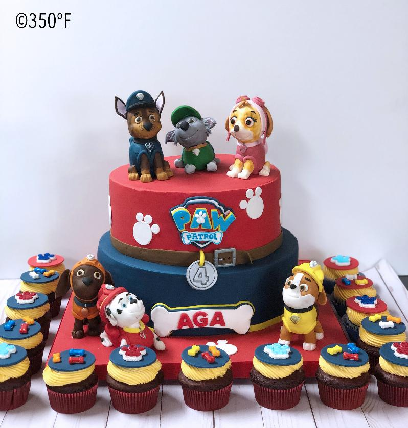 paw patrol theme birthday cake and cupcakes