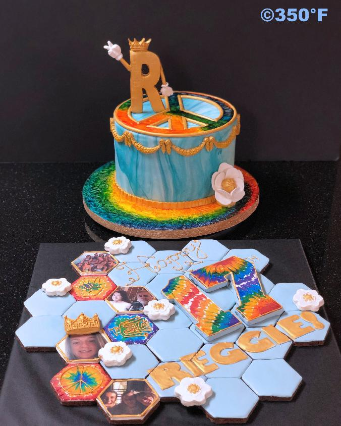A cake and cookie puzzle ensemble for Reggie's 17th birthday bash