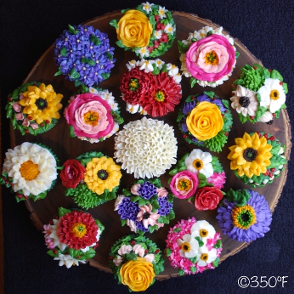 Floral cupcake platter for a party
