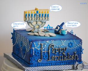 Hanukkah-themed custom buttercream cake in blue, white and silver with cookie menorah and chocolate dreidels and gelt toppers