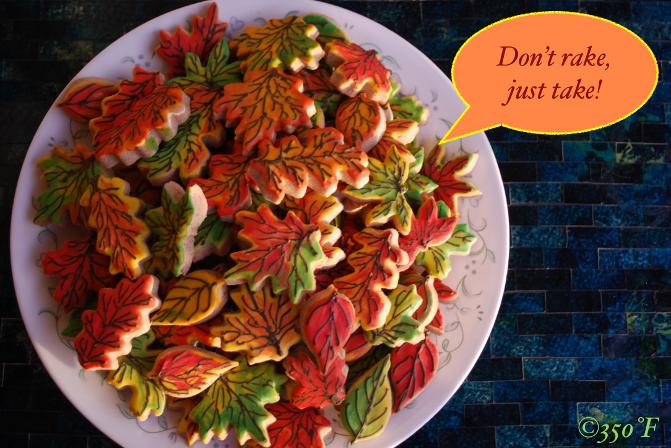 Heap of fall leaves that taste delicious! These custom decorated cookies are colorful and make the perfect treat for your Thanksgiving party guests