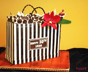 A 30th birthday special cake in the form of a shopping bag for an Henri Bendel's ardent fan