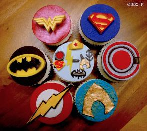 superhero cupcakes for a birthday party