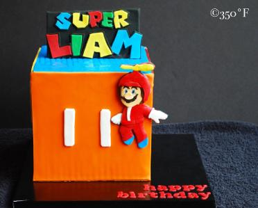 A power-ups cake for Liam's 10th birthday party in Supermario theme