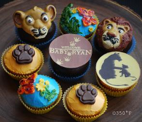 Lion King themed cupcakes for a baby shower