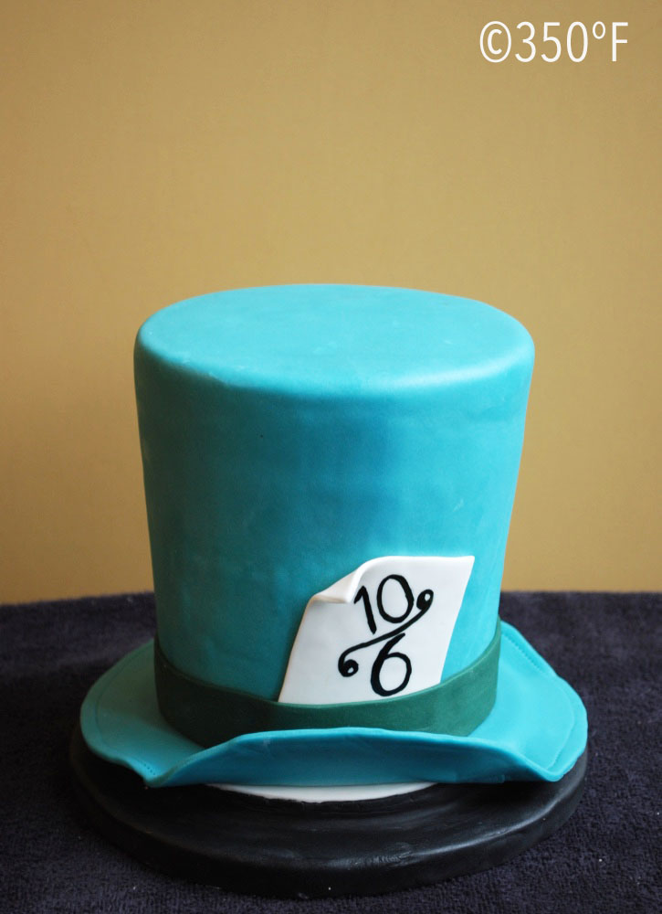 A mad-hatter's hat cake that was ordered as the top tier of an 18th birthday cake