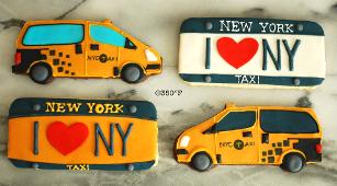 ny license plate and taxi cookies are a perfect parting gifts for guests visiting you