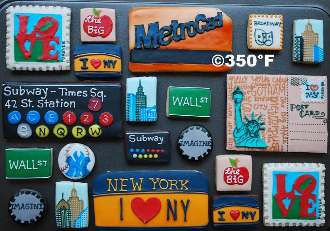 NYC themed decorated cookies