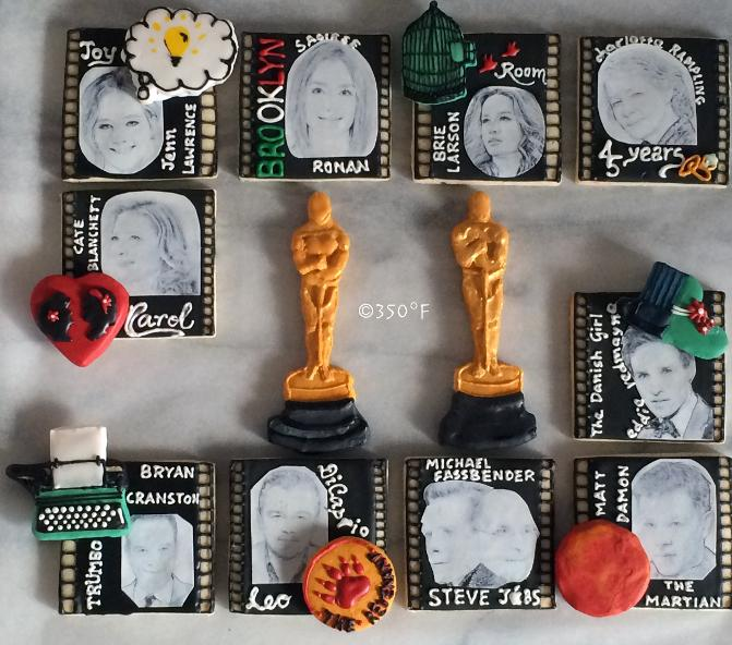 Custom decorated cookies with all your favorite actors and actresses for Academy Awards dinner party with friends