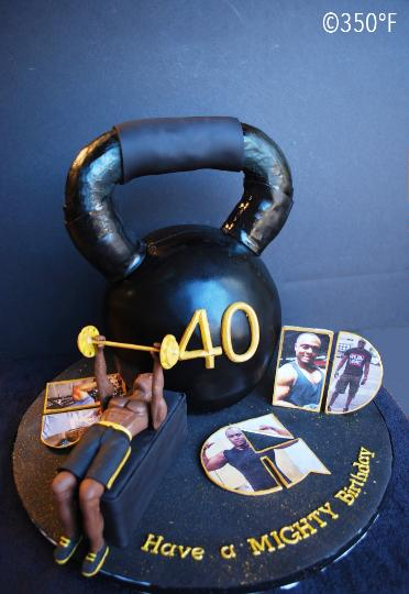 For a fitness enthusiast, a kettlebell cake for his 40th birthday.