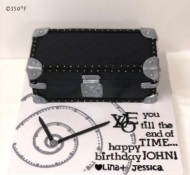 A Louis Vuitton watch cake cake ordered by a client and her daughter for her husband's 49th birthday