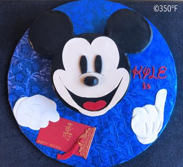 A mickey mouse cake for Kyle in Chinese birthday theme.
