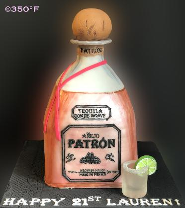 A Patron tequila bottle cake for Lauren's 21st birthday bash. Also created was a sugar shot glass with a slice of lemon.