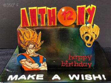 A dragon Ball Z themed galaxy cake in fondant with a crystal orb topper for Anthony's 12th birthday party