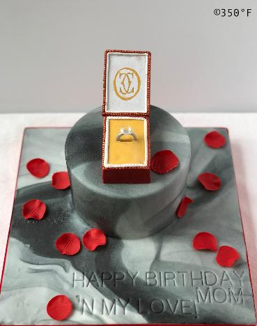 engagement ring romantic birthday marble effect rose petals