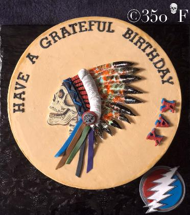 A rocking birthday cake in Grateful Dead theme for Kax