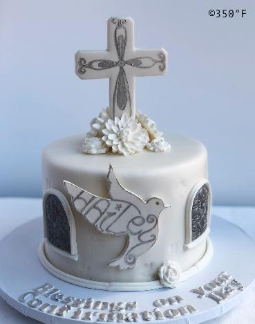 confirmation cake white and silver cross and dove