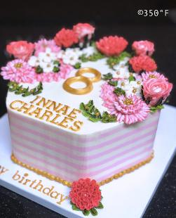 A buttercream floral cake in pink, white and gold for an 8th birthday party