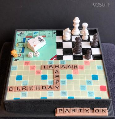 A unique birthday cake for a unique boy who loves board games.