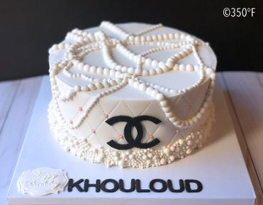 chanel cake with pearls