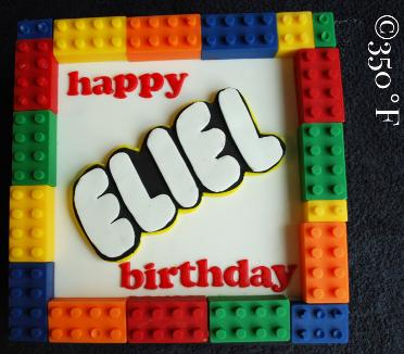 A lego themed cake for a future architect and construction engineer