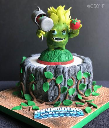 For a Skylanders fan, food fighter cake topper made of chocolate.
