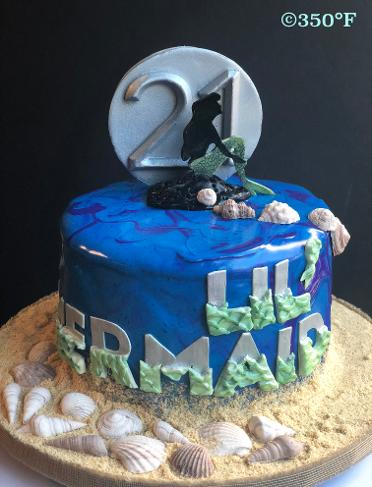 little mermaid theme marble mirror glaze birthday cake