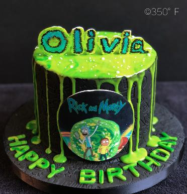 rick and morty themed birthday cake for a ardent fan