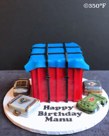 PubG themed loot crate birthday cake