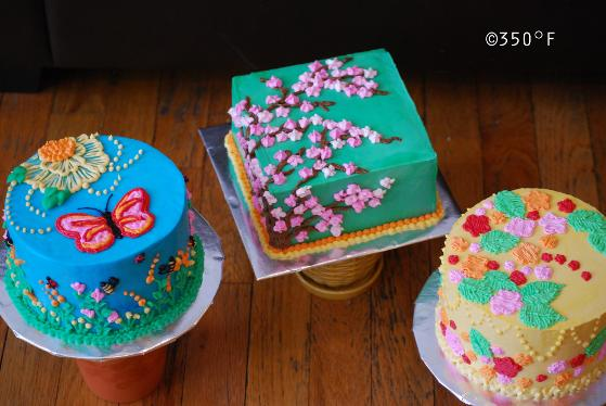Spring cakes with garden beauties