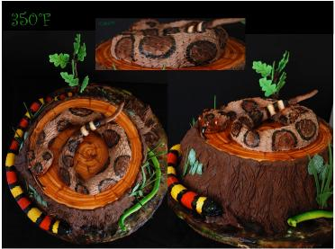 birthday cake for a snakes lover with different species of snake molded with chocolate