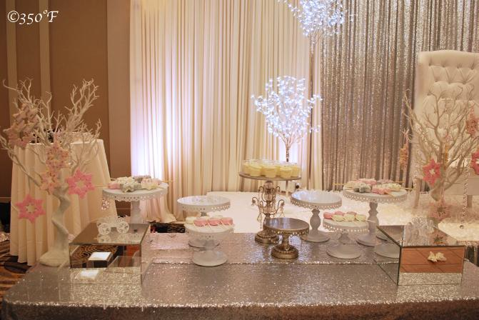 A Winter Wonderland Dessert table at a Sweet 16 party
