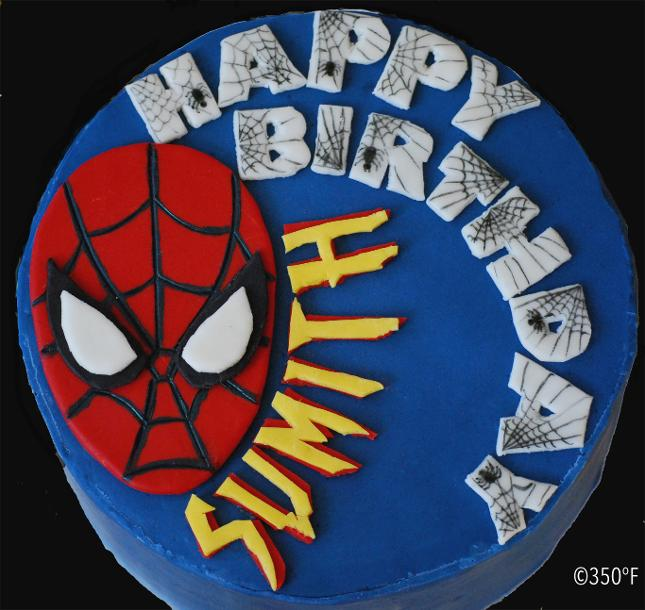 Spiderman themed birthday cake for a budding superhero
