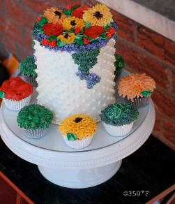 A cake and cupcake ensemble makes a birthday special with colorful flowers and dainty swiss dots