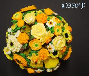 Personalized yellow floral bouquet for a Sweet 16