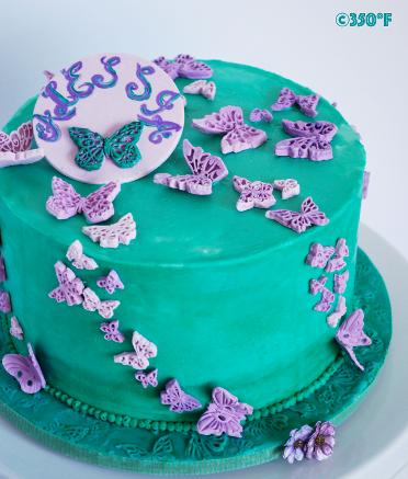 turquoise and purple butterfly theme birthday cake